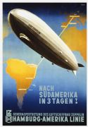 German Hot Air Balloon (Nach Sudamerika in 3 Tagen) Vintage Travel Poster